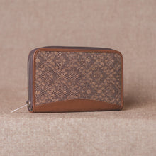 Load image into Gallery viewer, Zouk Brown Floral Motif Chain Wallet - Side View