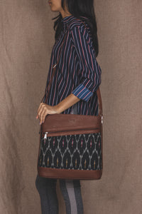 Ikat Black Multi Maze Bucket Sling Bag