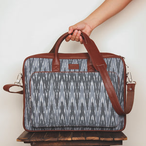 Ikat Wave Grey Laptop Bag