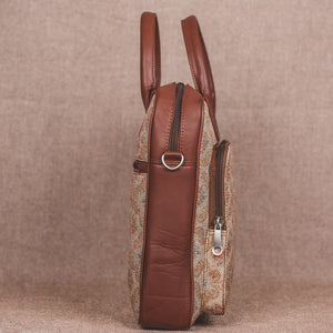 Beige Petal Motif Laptop Bag - Side