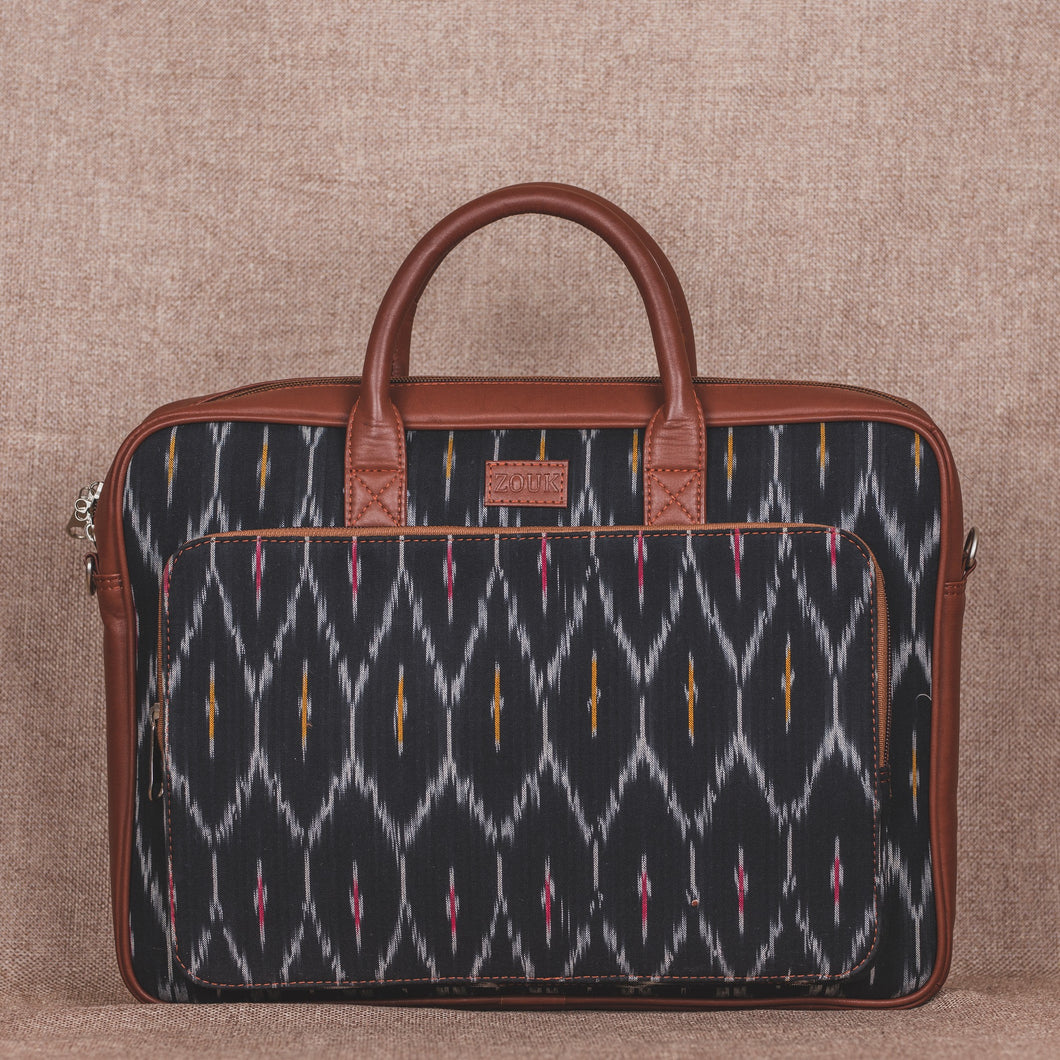 Ikat Black Multi Maze Laptop Bag