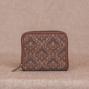 Brown Floral Motif Women's Mini Wallet