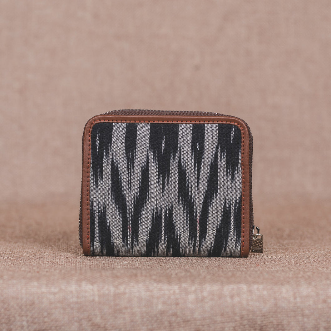 Ikat Grey Black Animal Print Women's Mini Wallet