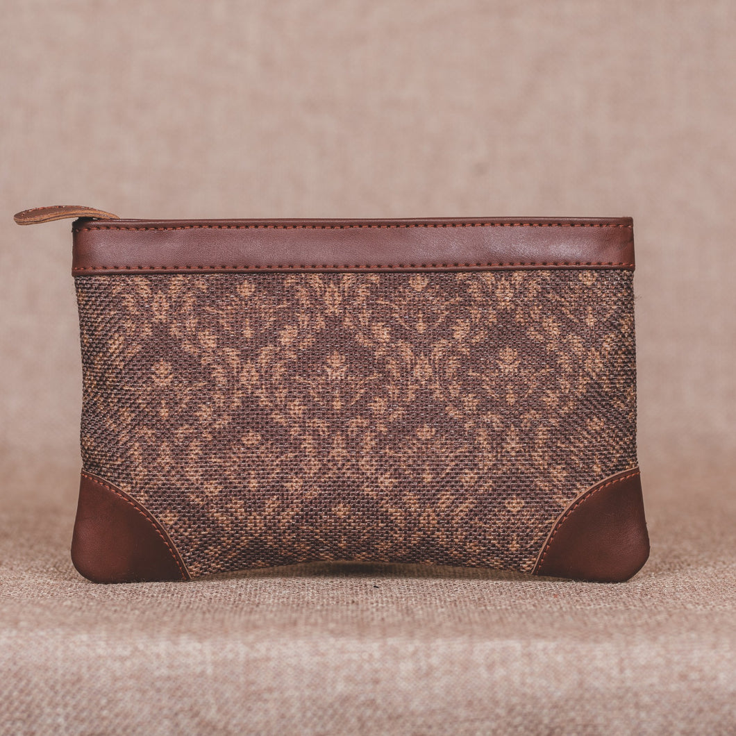 Brown Floral Motif Multipurpose Pouch