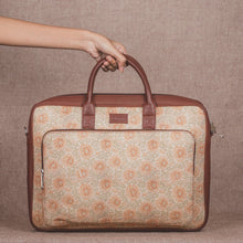 Load image into Gallery viewer, Beige Petal Motif Laptop Bag - with handle
