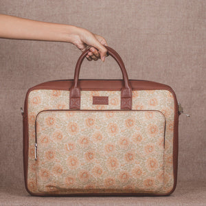 Beige Petal Motif Laptop Bag - with handle