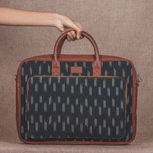 Load image into Gallery viewer, Ikat Black Dash Laptop Bag - Front