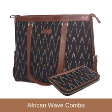Load image into Gallery viewer, Ikat African Wave - Women's Office Bag & Chain Wallet Combo
