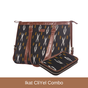 Ikat CliYel - Women's Office Bag & Chain Wallet Combo