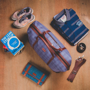 Zouk Checkered Blue Travel Bag