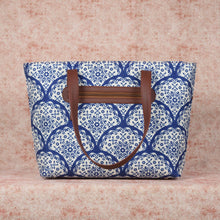 Load image into Gallery viewer, Floral Blue Pottery Tote Bag