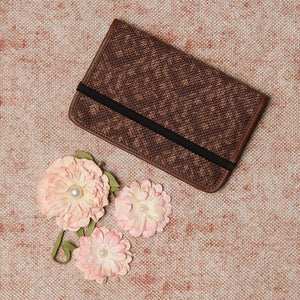 Passport Holder - Brown Floral Motif