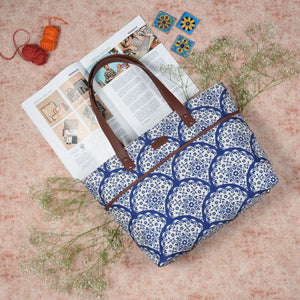 Floral Blue Pottery Tote Bag