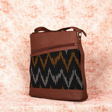 Load image into Gallery viewer, Ikat Brown Wave Bucket Sling Bag