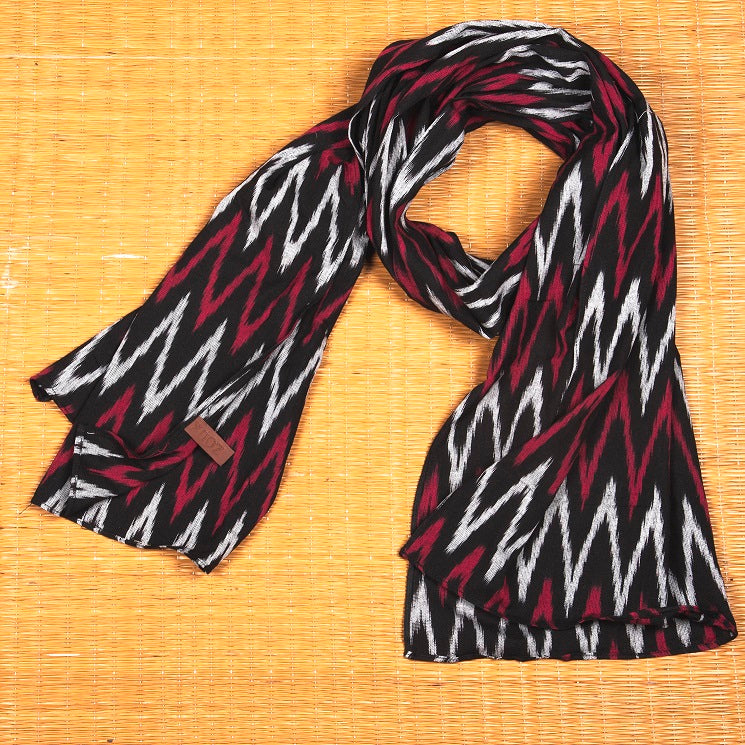Ikat Maro Wave Cotton Scarf - Long
