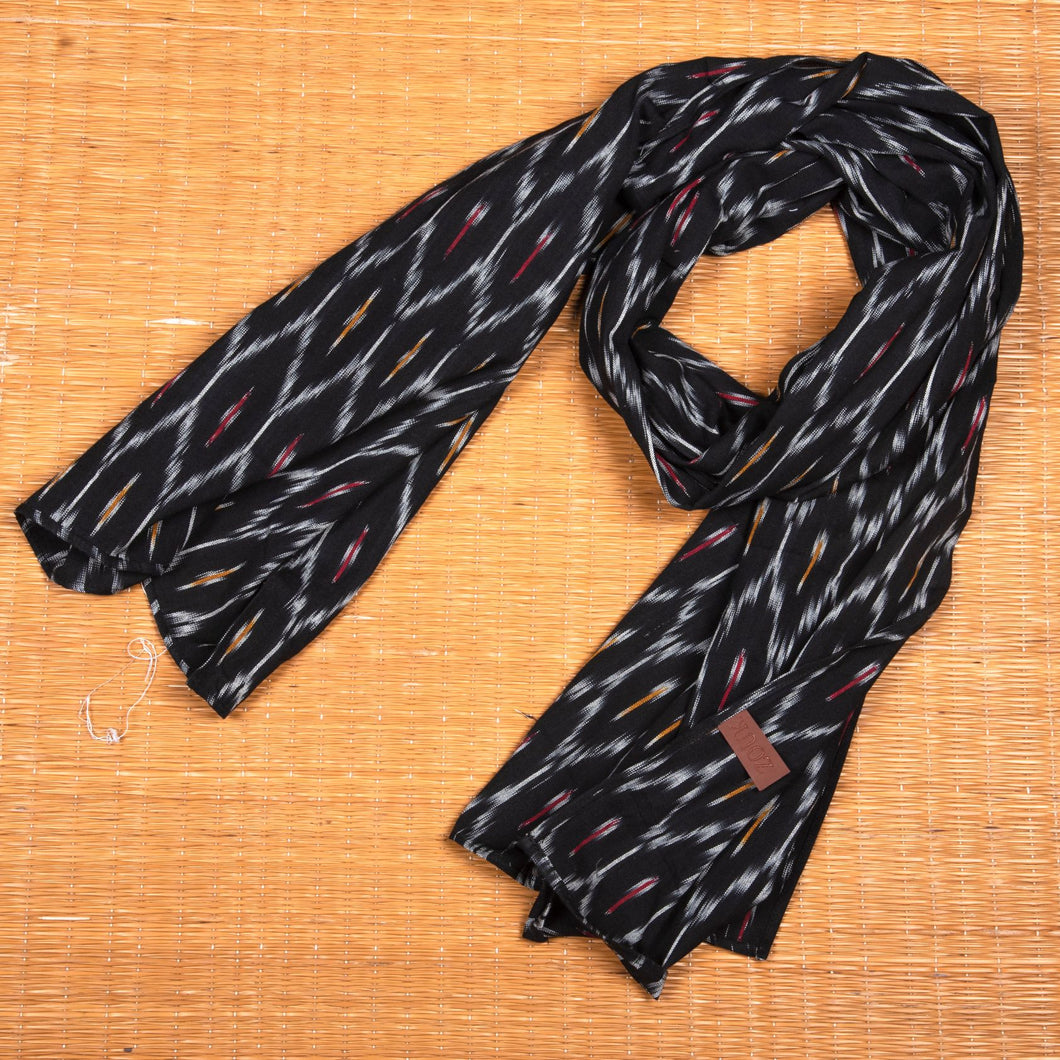 Ikat Black Multi Maze Cotton Scarf - Long