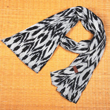 Load image into Gallery viewer, Ikat Grey Black Animal Print Cotton Scarf - Long