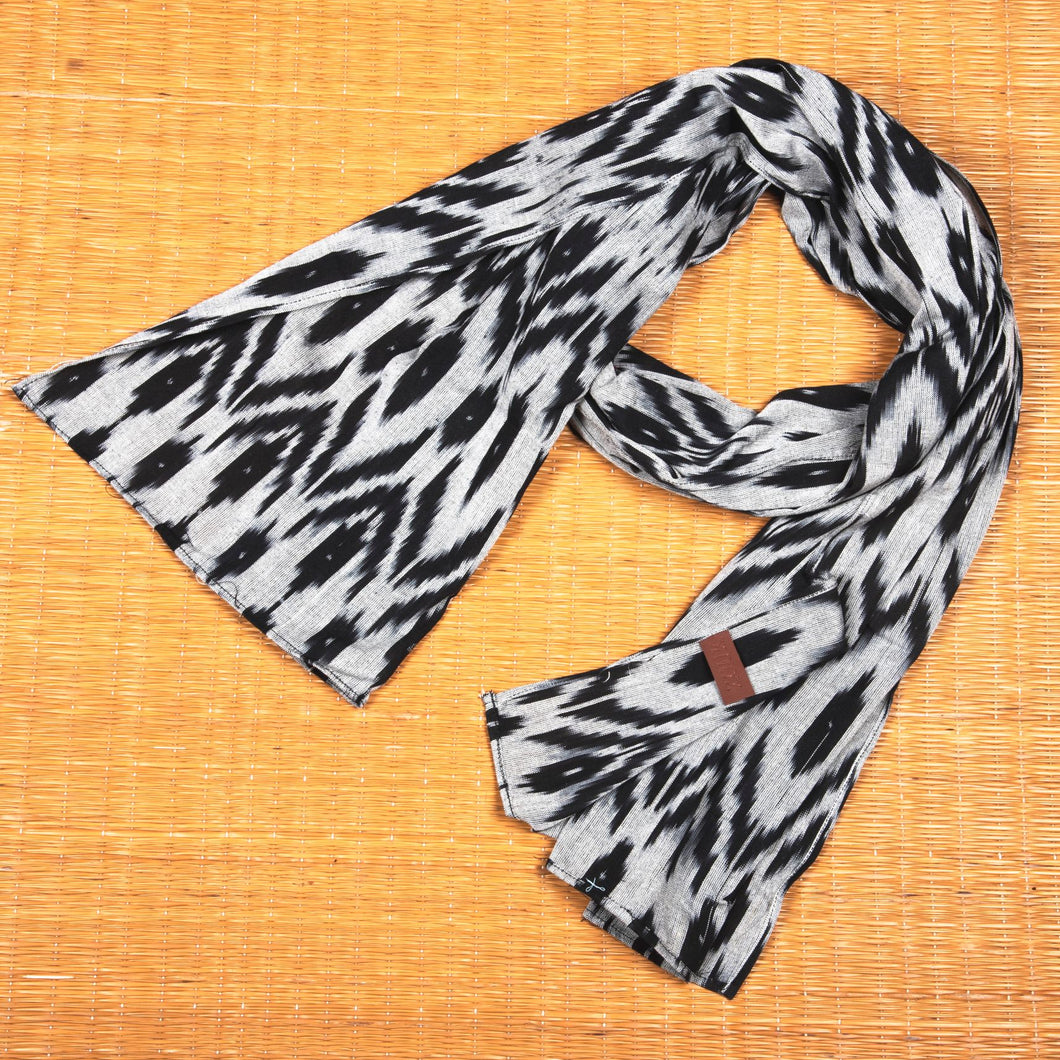 Ikat Grey Black Animal Print Cotton Scarf - Long