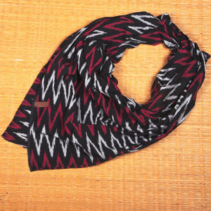 Ikat Maro Wave Cotton Scarf - Square