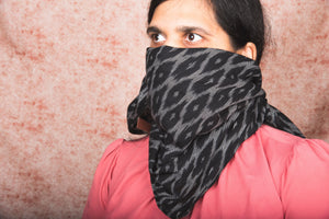 Ikat BlckMesh Cotton Scarf - Square