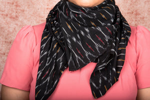 Ikat Black Multi Maze Cotton Scarf - Square