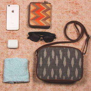 Ikat Grey Striped Sling Bag