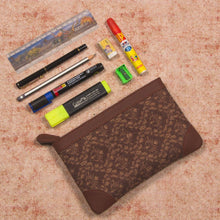 Load image into Gallery viewer, Brown Floral Motif Multipurpose Pouch