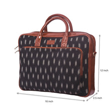 Load image into Gallery viewer, Ikat Black Dash Laptop Bag with dimensions