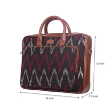 Load image into Gallery viewer, Ikat Black SeaOptics Laptop Bag with dimensions