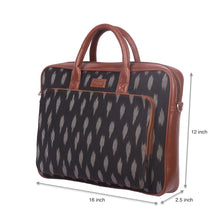 Load image into Gallery viewer, Ikat Striped Black Laptop Bag with dimensions