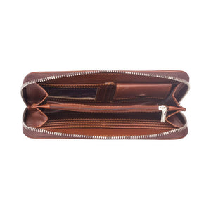 Classic Zipper Wallet  - Brown Metal