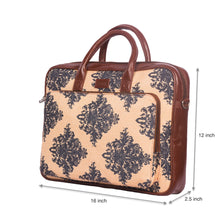 Load image into Gallery viewer, Mughal Motif Laptop Bag with dimensions