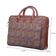 Load image into Gallery viewer, Zouk Multi Crystal Print Laptop Bag with dimensions