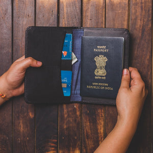 Zouk Black Passport Holder - Checkered Blue