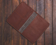 Zouk Brown Passport Holder - Checkered Grey