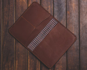 Zouk Brown Passport Holder - Checkered Purple