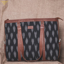 Load image into Gallery viewer, Ikat Striped Black - Women's Office Bag & Chain Wallet Combo