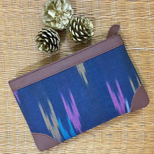 Load image into Gallery viewer, Ikat Blue Multi Strip Multipurpose Pouch