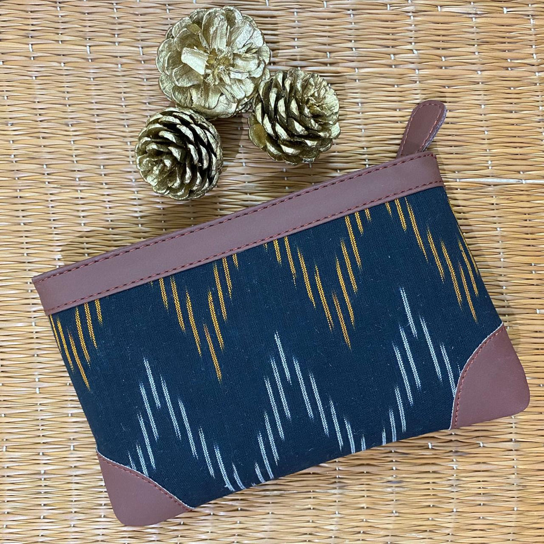 Ikat Brown Wave Multipurpose Pouch
