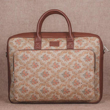 Load image into Gallery viewer, Beige Petal Motif - Laptop Bag & Chain Wallet Combo
