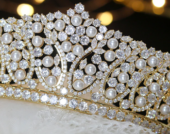 Pearl & Crystal CZ Tiara - Gold or Silver