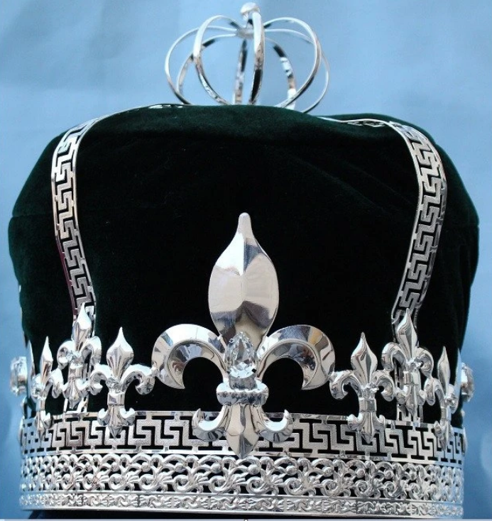 Norwich Crown - Gold or Silver with Red, Blue, Purple, Green, White or Black Velvet