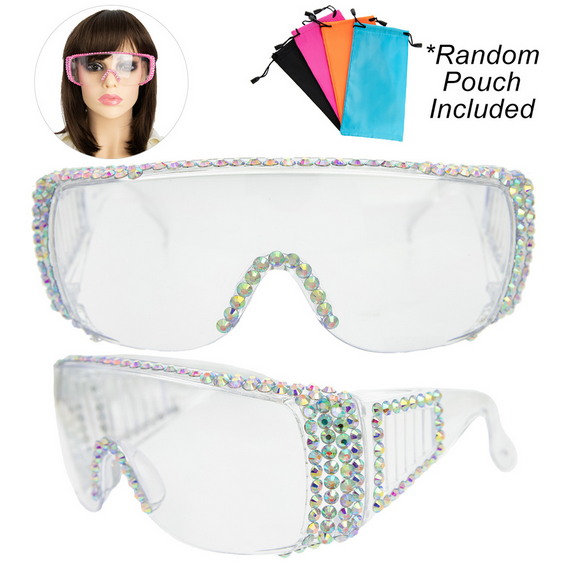 Rhinestone Pave Protective Safety Goggles - 10 Colors!