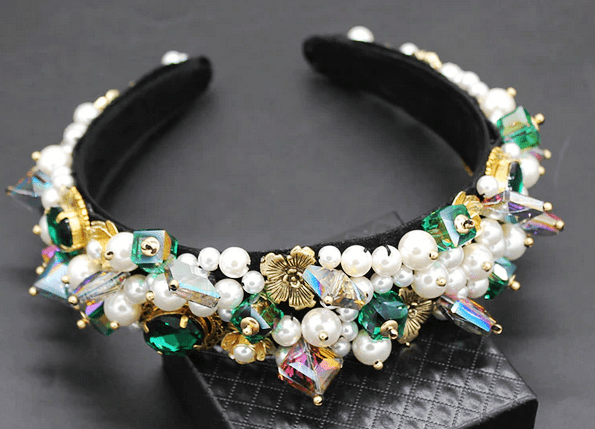 Baroque Colorful Pearls & Beads Headband