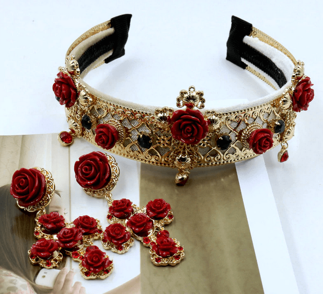 Baroque Floral Headband & Earrings