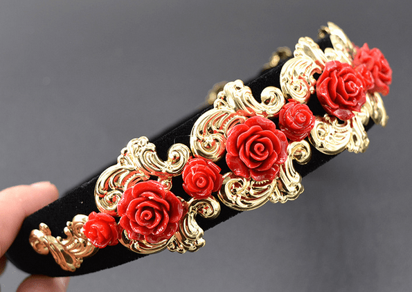 Baroque Red Roses Headband
