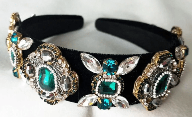 Baroque Rhinestone and Color Headband - Green or Red