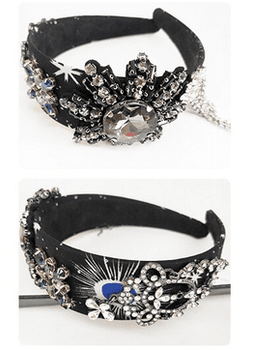 Big Black Crystal Flower Headband/Cuff