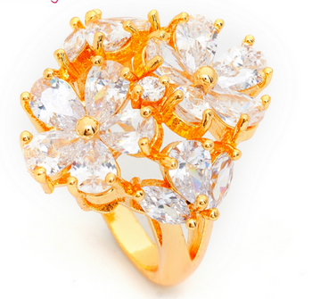 Big Double Rose CZ Ring - Size 6 & 7