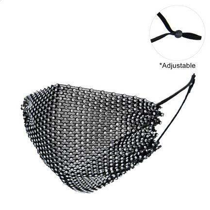PROTECTIVE RHINESTONE FACE MASK - BLACK/CLEAR